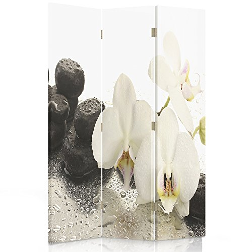 Feeby Frames Biombo Impreso sobre Lona, tabique Decorativo para Habitaciones, a una Cara, de 3 Piezas (110x180 cm), Piedras ORQUIDEA Zen Blanco Negro