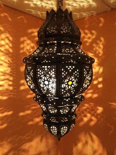 Orientalische Lampe Pendelleuchte Rostfarben Abal E27 Lampenfassung   Marokkanische Design Hängeleuchte Leuchte aus Marokko   Orient Lampen für Wohnzimmer, Küche oder Hängend über den Esstisch