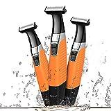 KEMEI Afeitadoras eléctricas para Hombres y Mujeres, recortador de Barba a Prueba de Agua USB inalámbrico Recargable para el Cuerpo y depiladores para Cejas, Barba y Vello Corporal,Naranja