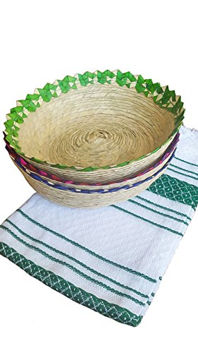 Mexican Baskets For Party Home & Kitchen 3Pack Centerpieces & 1 Handloomed Tortilla Cloth Warmer Keeper. 100% Palm Unique Mexican Art Perfect for Bread, Snacks, Pancakes, Chips, Guacamole & Candy.