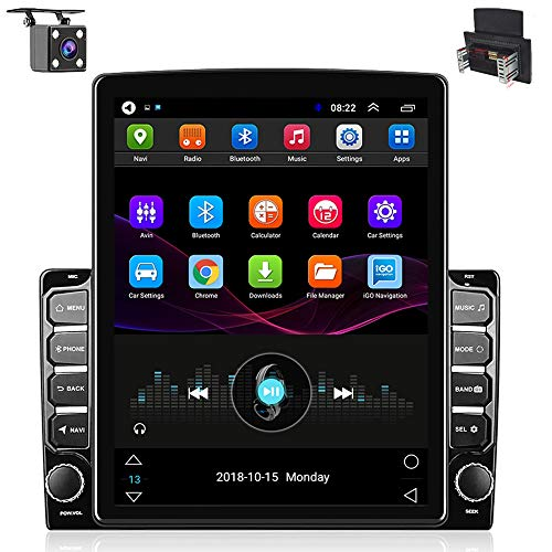 Hikity Double Din Android Car Stereo 9.7 Inch Head Unit with GPS Car Bluetooth FM Radio Support WiFi Connect Mirror Link for Android/iOS Phone + Dual USB Input & 4 LEDs Backup Camera