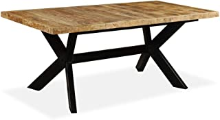 vidaXL Solid Mango Wood Dining Table Steel Cross 70.9