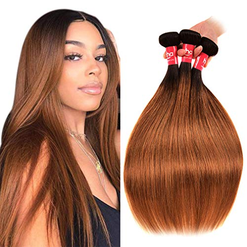 Haha Ombre Brazilian Straight Hair 3 Bundles with Closure 8A Ombre Hair Bundles With Closure 2 Tone T1B/30 Black to Medium Auburn Human Hair Weave Bundles with Lace Closure 22 24 26+20