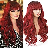 HELENE Hair Burgundy Red Wig Ombre Wine Red Long Wavy Loose Wavy Wigs With Bangs Loose Curly Wig With Dark Roots Synthetic Heat Resistant Wig Full Machines 24 Inches Daily Cosplay Wig For Black Women