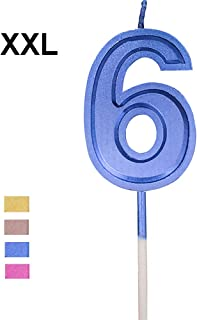 Wuinio Multicolor Glitter Happy Birthday Numbers Candles Cake Topper Decoration for Adults/Kids Party (Blue 6)