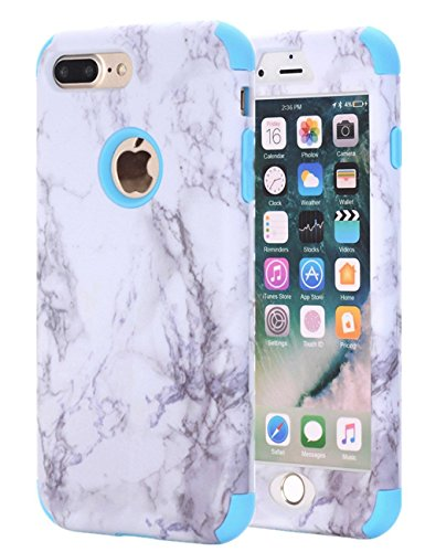 Ankoe iPhone 8 Plus Case, iPhone 7 Plus Case, Marble Stone Pattern Shockproof Full Body Protective Cover Dual-Layer Slim Soft Flexible Silicone and Hard PC for Apple iPhone 7 Plus 8 Plus (Blue)