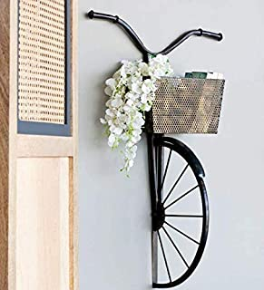 Style Home Art Rajasthani Iron Handcrafted Gold Metal Decorative Wall Art Half Cycle with Basket for Storage (21 * 10 * 35...