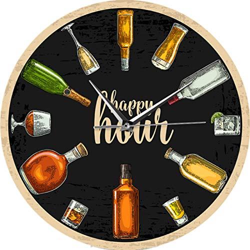 Reloj de pared Happy Hour Wine Time Wine O'Clock Booze Reloj de pared Hombre Cueva Pub Bar Decoración de pared Restaurante Vinos Bebedor Alcohol Regalos Bodega Arte