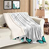 EMODFJCXZ Turquoise Super Soft Blankets Sunny Butterflies Morphs All Season for Couch or Bed W60 x L47 Inch