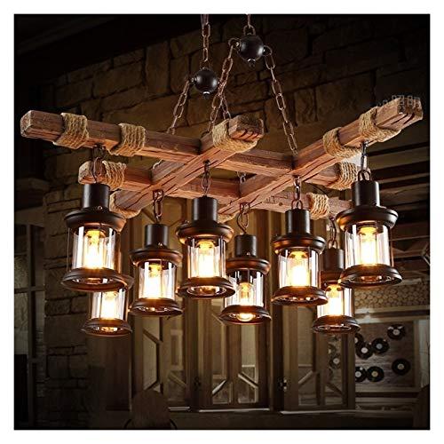 Lámpara colgante de cuerda de cáñamo, 8 luces, lámpara de araña rústica, lámpara colgante industrial de bambú vintage con enchufe E27, accesorio de luz para comedor, sala de estar, pasillo, bar