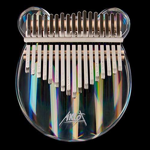AKLOT Kalimba 17 llaves Acrílico arcoíris Kalimbas Nota tallada Piano de pulgar Kits de inicio Piano de dedo con Kalimba Case Study Booklet Tune Hammer Stickers para niños adultos principiantes