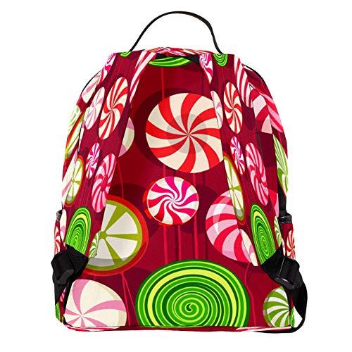 AITAI Mochila de cuero PU Colorido Lollipop Escuela al aire libre Colegio Bookbag Fit Mochila para hombre y mujer