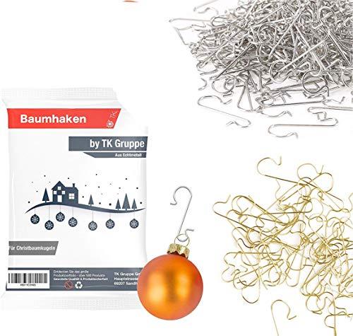 100x Haken Baumhaken gold & silber Schnellaufhänger Aufhänger Kugelaufhänger für Christbaumkugel, Weihnachtskugeln, Aufhänger in S Form für Weihnachten & Weihnachtsschmuck (100x Mix)