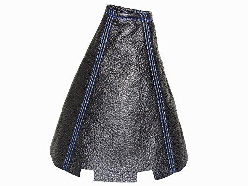 Soufflet de levier Cuir véritable Noir Bleu Coutures