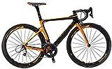 KEMANDUO Fibra de Carbono Bicicleta de Carretera, Bicicletas de Fibra de Carbono Carretera para Hombres y Mujeres, Encuadre Completo de Fibra de Carbono, Gris/Rojo/Amarillo,Amarillo