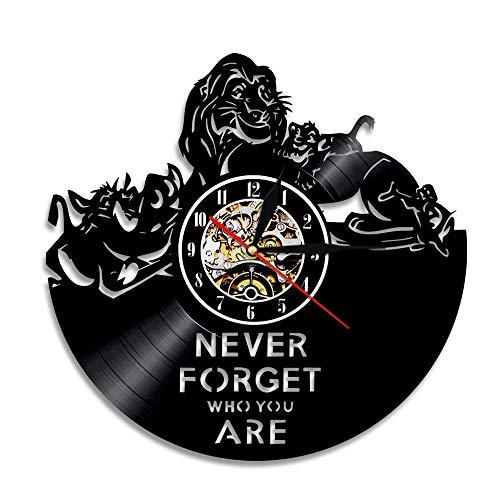 YUN Clock@ Wanduhr aus Vinyl Schallplattenuhr Upcycling The Lion King - 3D Design-Uhr Wand-Deko Vintage Familien Zimmer Dekoration Kunst Geschenk, Durchmesser 30 cm