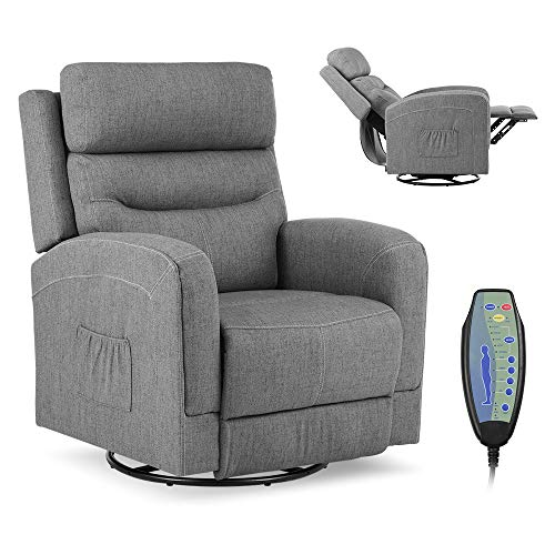 Okeysen Massage Recliner Chair with Lumbar Heating, Ergonomic Lounge Chair, Reclining Sofa for Living Room, 360 Degree Swivel, Side Pocket & Remote Control. (Fabric - Grey)