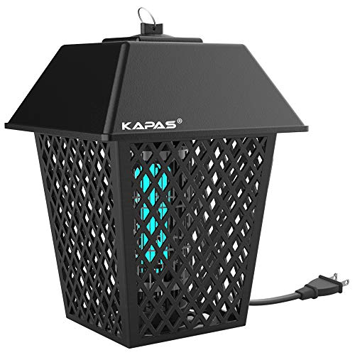 KAPAS Electric Bug Zappers, 20W Outdoor & Indoor Blue Light Pest Control Lantern for Mosquitoes, Flies, Gnats, Pests & Other Insects (Black - 1 Pack)