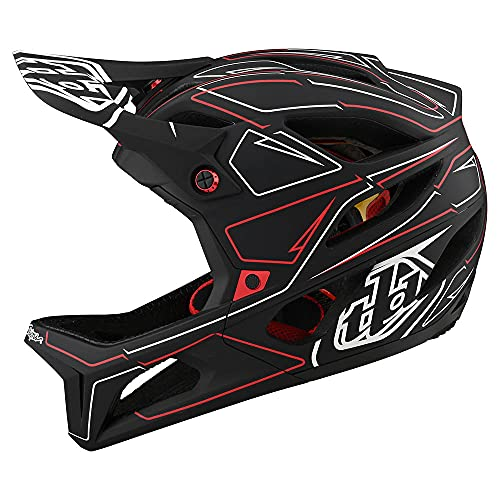 Troy Lee Designs Born from Paint Adult | Downhill | Enduro | Full Face Mountain Bike Stage Pinstripe Helmet (Black/Red, MD/LG)