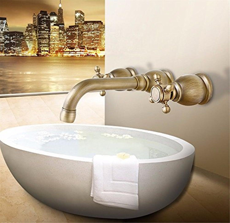 Moderne einfacheKupfer hei und kalt Wasserhhne Küchenarmatur Messing in der Wand Doppelgriff drei Loch Keramikventil hei und kalt gemischt drehbare Bad Waschtischmischer Geeignet für Bad Küche