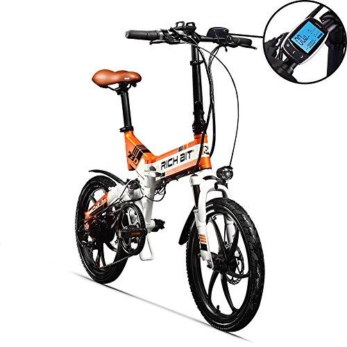 RICH BIT RT730 Bicicleta eléctrica plegable de 20 pulgadas, bicicleta eléctrica, batería de litio de 250 w * 8ah, pantalla, marco de aleación de aluminio mtb, amortiguadores de choque completos, 7 velocidades de simano con opción de acelerador