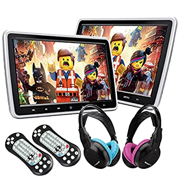 XTRONS Dual Car DVD Players 10.1 Inch TFT Screen Portable Car Headrest CD Player Support HDMI Input USB SD AV In & Out Region Free 32 Bit Games with 2 Wireless Children IR Headphones  Blue & Pink