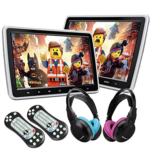 XTRONS Dual Car DVD Players 10.1 Inch TFT Screen Portable Car Headrest CD Player Support HDMI Input, USB SD, AV In & Out, Region Free, 32 Bit Games with 2 Wireless Children IR Headphones (Blue & Pink)