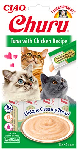 INABA Churu Sticks - Lickable Cat Treats To Feed From Hand - Delicious And Healthy Snack for Cats - Tuna & Chicken