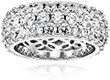 Platinum-Plated Sterling Silver 3 Row Pave Ring set with Round Swarovski Zirconia (3.45 cttw), Size 7