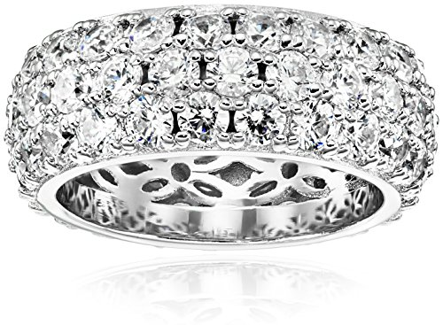 Platinum-Plated Sterling Silver 3 Row Pave Ring set with Round Swarovski Zirconia (3.45 cttw), Size 8