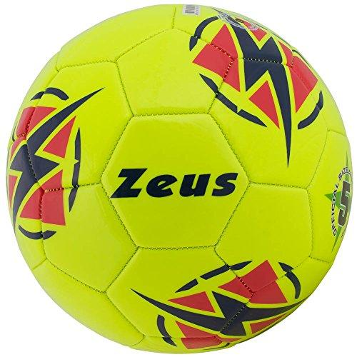 Zeus Pallone da Calcio Kalypso Calcetto Sport Pegashop (GIALLO FLUO-BLU-ROSSO, 4)