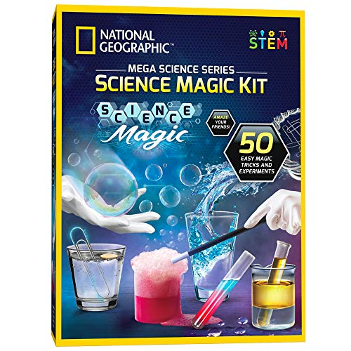NATIONAL GEOGRAPHIC Science Magic Kit - Perform 20 Unique Science Experiments as Magic Tricks, Includes Magic Wand and Over 50 Pieces, Great STEM Learning Science Kit for Boys and Girls