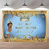 SeekPro 7x5ft Little Prince Black Baby Shower Backdrop Little Boy Baby Shower Party Banner Decoration Backdrops Light Blue Damask Gold Crown Photography Background Vinyl