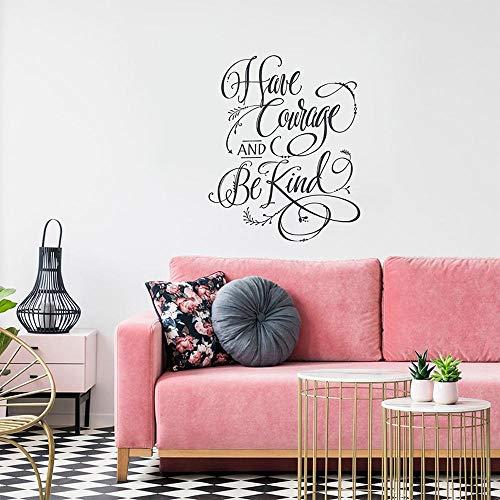 Haben Sie Mut und seien Sie freundlich Wandkunst Kind Wandtattoo Wohnung Schlafzimmer Dekor Mädchen Zimmer Dekor Vinyl Aufkleber Haben Sie Mut Zitat G_51x42cm