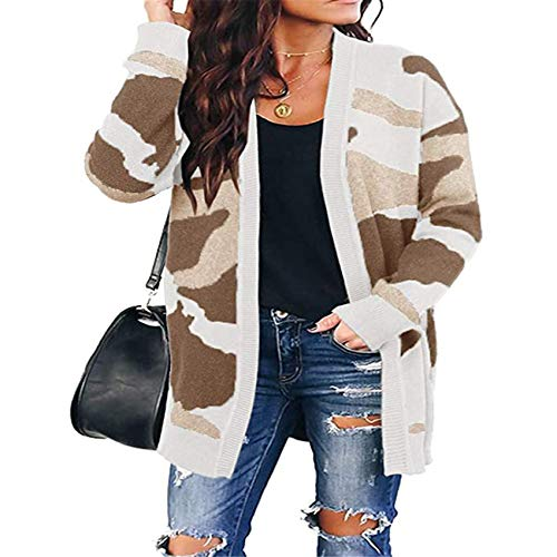 Hhckhxww Damen Herbst Und Winter Camouflage Cardigan Mittellanger Strickpullover Sweater Coat