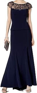 Xscape Navy Embellished Mesh Women's Petite Gown Dress
