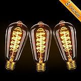 Ampoule Edison,Elfeland 3W Ampoule LED E27 Vintage Lampe Décorative Antique Spirale Filament 2200K...
