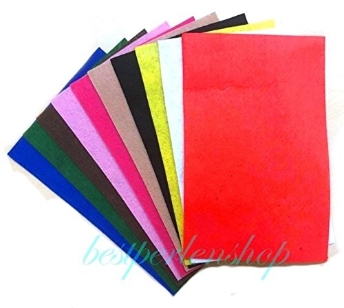 Perlin Filzplatten 1mm Wollfilz Filz 10 Farben Bunte 30x20cm (DIN A4) Bastelfilz DIY Stickfilz DEK96