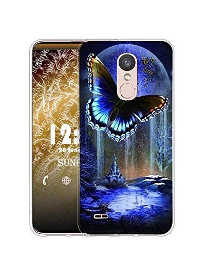 Sunrive Funda Compatible con LG K8 2017/K4 2017, Silicona Slim Fit Gel Transparente Carcasa Case Bumper de Impactos y Anti-Arañazos Espalda Cover(Q Mariposa 3)