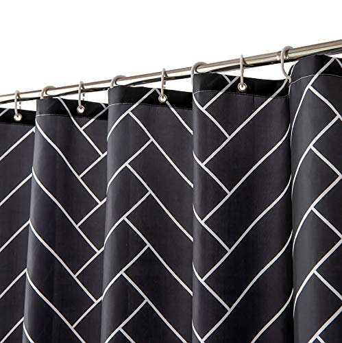 SOFJAGETQ Black Fabric Shower Curtain Boho Fish Tail Design Shower Curtain Set with 12 Hooks for Bathroom Waterproof Quick Drying Washable, 72 X 72 Inches