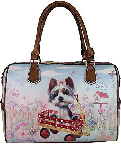 B BRENTANO Vegan Cute Animal Graphic Top Handle Boston Shoulder Bag with Rhinestones (Cozy Dog Wagon.)