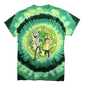 Ripple Junction Rick and Morty Large Portal Adult T-Shirt Medium Green Tye Dye