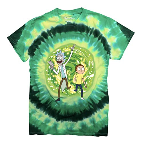 Ripple Junction Men's Adventures of Rick and Morty Portal T-Shirt, Green Tie Dye