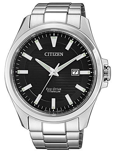 CITIZEN Herren Analog Eco-Drive Uhr mit Super Titanium Armband BM7470-84E