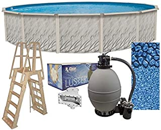 Lake Effect Meadows 30' Round Above Ground Swimming Pool Complete Bundle Kit | 52