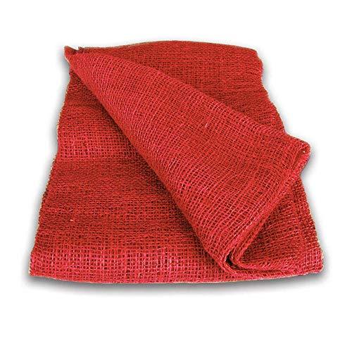 NOOR Premium Jute-Decke 1 x 3 m I Jute-Zuschnitt Rot zum Adventskalender selber basteln, als Deko-Material oder als Frostschutz für Pflanzen I Jute-Winterschutz für Topf- und Kübelpflanzen