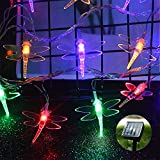 ASFSKY Dragonfly Solar Lights Outdoor 100 Led 12m 39ft String Waterproof Colorful Lights for Garden Yard Decoration Multicolor