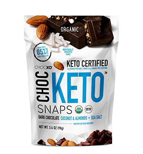 ChocKETO Dark Chocolate Coconut Snaps with Almonds and Sea Salt | Keto Certified, USDA Organic, Certified Gluten Free and Kosher