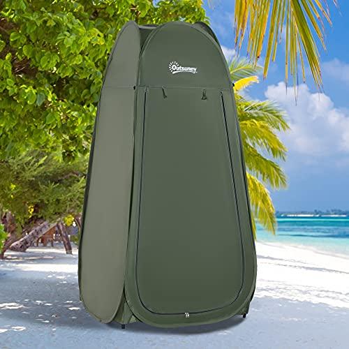 Outsunny Tienda de Campaña Instantánea Tipo Carpa Ducha Cambiador WC Impermeable para Camping - 100x100x185cm
