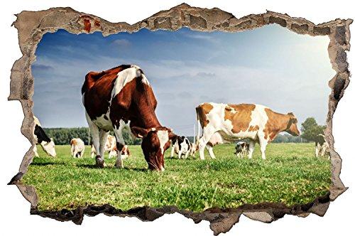 Kuh Wiese Landwirt Weide Wandtattoo Wandsticker Wandaufkleber D0674 Größe 60 cm x 90 cm